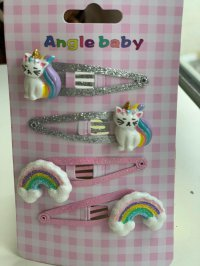 #12489 Pink color rainbow & sliver color cat pattern 4 hair clips set