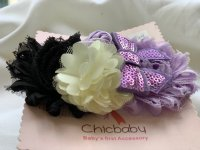 #11362 Black+White+Purple Flower with Bow Baby Hairband