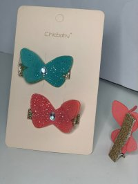 #12883 Green/ Red color butterfly pattern 2 hair clips