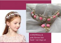 #10969 Pink +white color flowers hair band +ear rings set