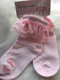 #6561 size:3-4/4-6/6-8yrs Pink lace short sock