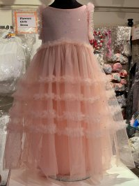 #11971 size : 11-12/13-14yrs Pink glitter mesh party dress