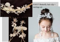 #10537 White butterfly flowers hair clip + earring set