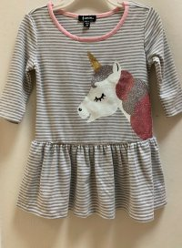 #12048 Size: 2/3/4/6 yrs grey spidred dress