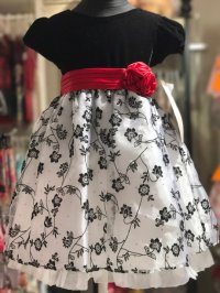 #8050 size2/3yrs Black and White party dress