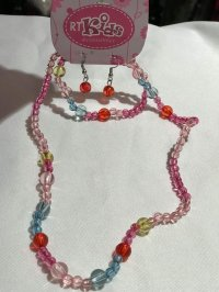 #9005 Colourful plastic beads necklace + earings