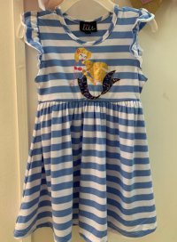 #11482 size: 2/4/5/6/6x yrs 95% polyester ,5% spandex,blue color mermaid striple pattern dress