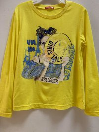 #12413 size: 6/7/9/11yrs 60% cotton 40% polyester yellow long sleeve T-shirts