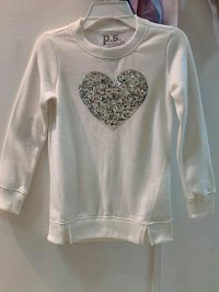 #12173 size: 5/6/8/10/12/14 yrs Off-white Long Sleeve Long Sleeve Beaded Heart Top
