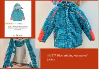 #11577 size 6/8 yrs Blue color printing waterproof jacket