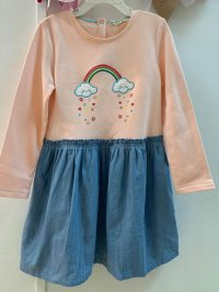 #11574 size: 8/9/10/11-12 yrs Full Cotton Pink-Orange Long Sleeve Dress