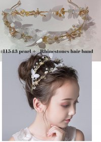 #11543 Gold color rhinestones& pearl hair band