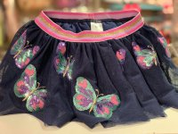 #10760 size : 1/2/4yrs Dark blue color embroidery beads butterfly pattern with 2 mesh skirt