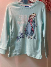 #11996 size4/8yrs Very good hand feel -100% cotton blue printing long sleeves tee