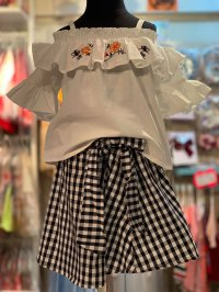 #11053 size: 3-4/4-5/6-7/8-9 yrs Full Cotton White top with Black and White checkered skirt
