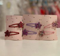 #12283 Glitter Pink/purple/red star hair clip 2pcs set