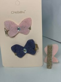 #12884 Dark grey/ Pink color butterfly pattern 2 hair clips