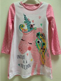 #11546 size: 4-5/6-7/8-9/9-10/11-12yrs 65% cotton printing long sleeves dress with picot collar