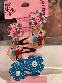 #11011 Fox & flowers hair clip 6pcs set