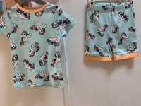 #11025 Size 1/2/3/5/6/7/8yrs Full cotton powder green color unicorn pattern Top +shorts