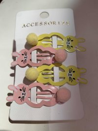 #13777 pink/yellow rabbit 4 hair clips