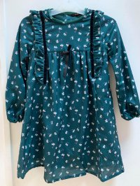 #11233 Size:3/4/5/6/8/10yrs Dark green color flower pattern dress