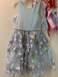 #11626 size: 7/8/10/12/14/16 yrs Powder blue color embroidered butterfly pattern party dress