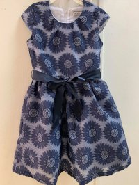 #12420 Size: 6/7/10yrs Dark blue color flower pattern party dress