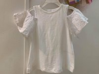 #12958 Size:3/8/10/12yrs White color lace sleeves top