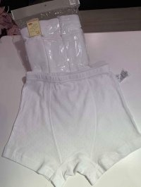 #12683 size: 6-7/7-8/8-9/9-10 Full cotton boys white boxer briefs set