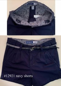 #12921 size :4/5/6/7/8yrs Full cotton dark blue color short with belt