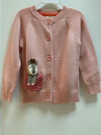 #11958 size : 2/3-4/4-5/5-6yrs 100% cotton dirty pink knitted cardigan with a cute doll pocket
