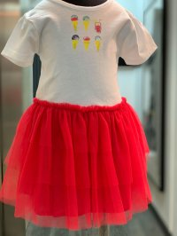 #12338 size : 2/3/4/5/6/8/10yrs Full cotton knitted printing + mesh party dress