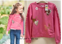 #13027 size: 5-6/7-8/9-10/10-11yrs Dark pink 60% cotton 40% polyester terry inner brushed long sleeves top