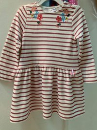 #11798 size: 3/4/5/6/7/8/9/11yrs pink color embroidered and stripe pattern dress