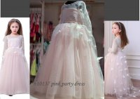 #10137 size: 8-9/10-11/12-13yrs Light pink butterfly 4 layer mesh party dress