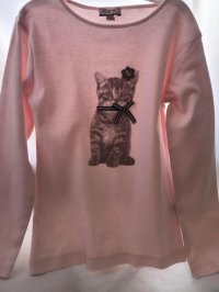 #9309 Size: 8/10/12yrs 100%cotton Pink cat top