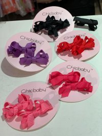 #11123 Hair Clip with Bow(Light Pink / Pink / Red / Purple / Black)