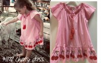 #11172 Size6/8yrs Full cotton pink color cherry emb & smocking collar pattern dress