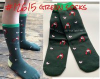 #12615 Free size! Green allover printing mix free size socks