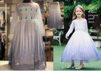 #13230 size: 2-3/4-5/6-7/8-9/10-11yrs White color sequin princess party dress with 2 mesh