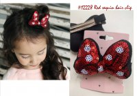 #12228 Red color sequin bow hair clip