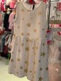 #10654 Size for 9-10/11-12/13-14 yrs Gold color star printing party dress