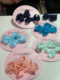 #11122 Hair Clip with Bow (Salmon / Light Green / Light Blue / Blue / Navy)