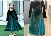#13334 size: 2-3/4-5/6-7/8-9/10-11yrs Dark green and black color princess dress with 1 layer mesh