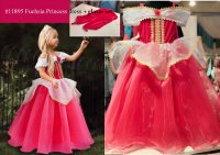 #11895 size 2-3/4-5/6-7/8-9/10-11yrs Fuchsia color princess dress + gloves set
