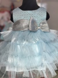 #4822 size: 3-6M/6-9M/12M/18M/24M Light green classic party layer dress with ribbon