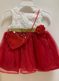 #10724 Size 6-9m /3/4/5/6yrs White color+red color flower pattern party dress