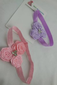 #6598 purple / pink flower + rainstones Baby headband