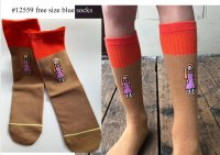 #12560 Free size! Brown and orange color mix free size socks